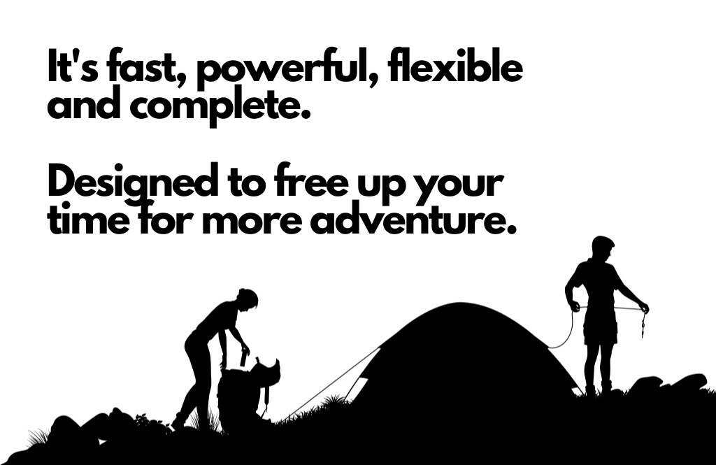 Black and white graphic of two people setting up a tent